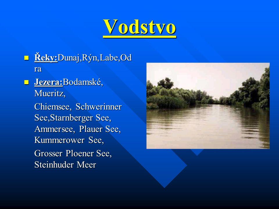 Vodstvo Řeky:Dunaj,Rýn,Labe,Odra Jezera:Bodamské, Mueritz,