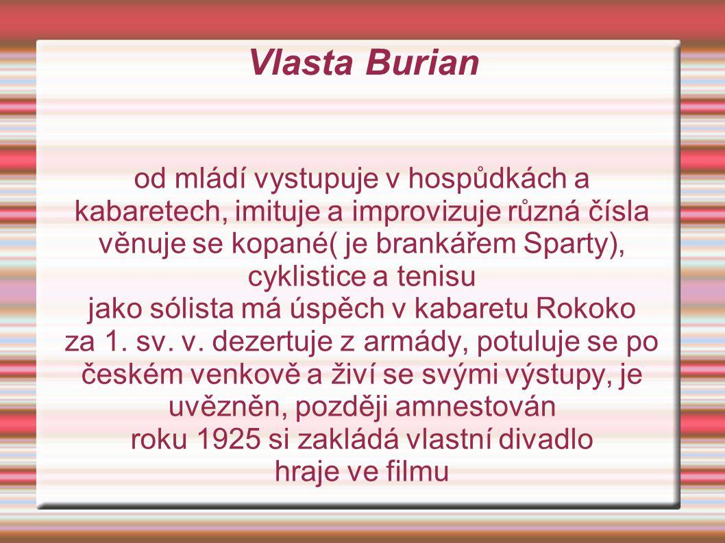 Vlasta Burian od mládí vystupuje v hospůdkách a kabaretech, imituje a improvizuje různá čísla.