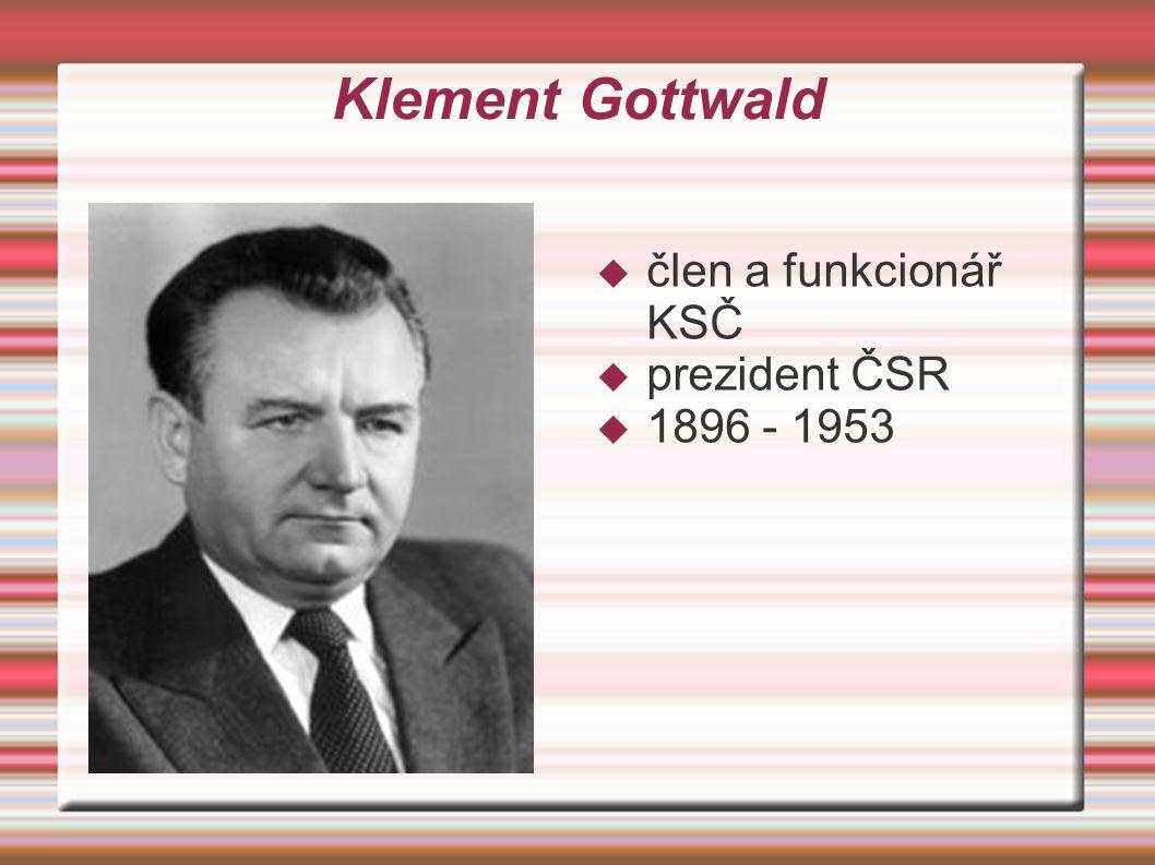 Klement Gottwald člen a funkcionář KSČ prezident ČSR 1896 - 1953