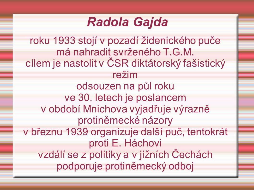 Radola Gajda roku 1933 stojí v pozadí židenického puče