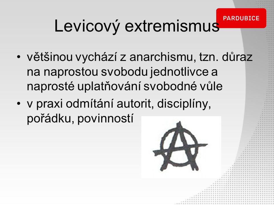 Levicový extremismus většinou vychází z anarchismu, tzn. důraz na naprostou svobodu jednotlivce a naprosté uplatňování svobodné vůle.