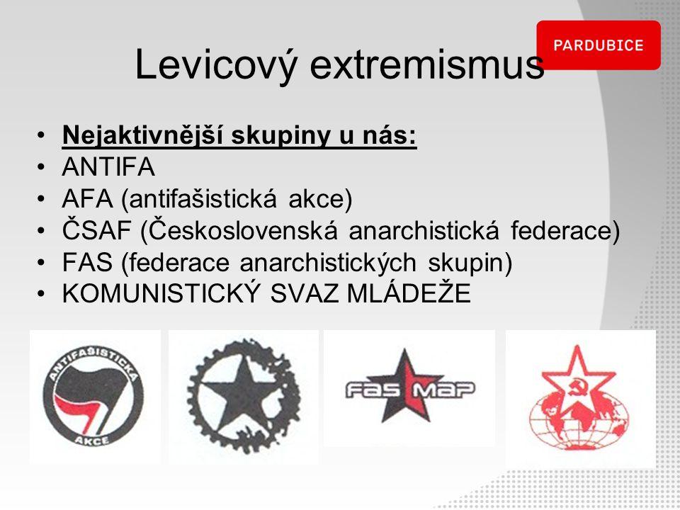 Levicový extremismus Nejaktivnější skupiny u nás: ANTIFA