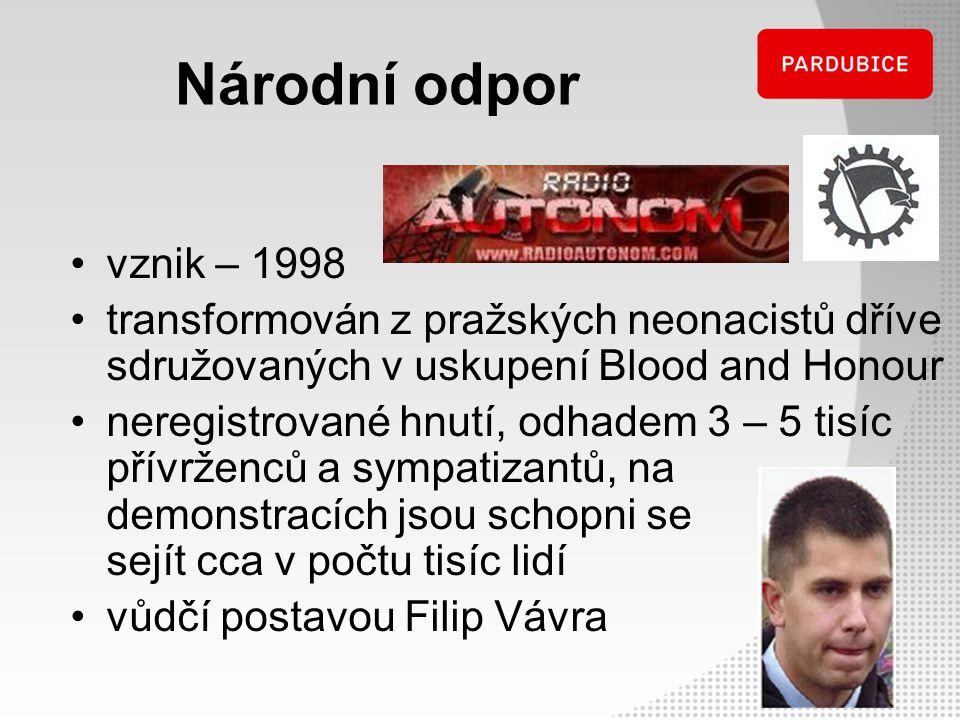 Národní odpor vznik – 1998. transformován z pražských neonacistů dříve sdružovaných v uskupení Blood and Honour.