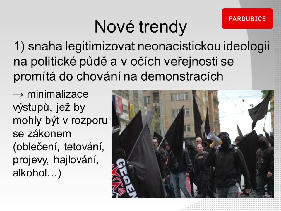 Nové trendy 1) snaha legitimizovat neonacistickou ideologii na politické půdě a v očích veřejnosti se promítá do chování na demonstracích.