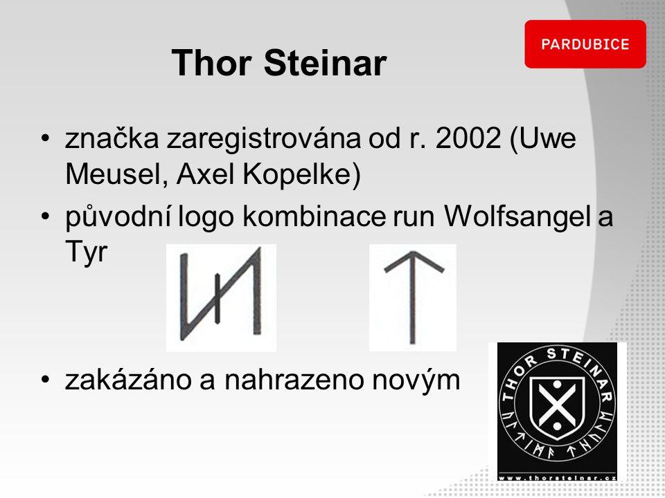 Thor Steinar značka zaregistrována od r. 2002 (Uwe Meusel, Axel Kopelke) původní logo kombinace run Wolfsangel a Tyr.