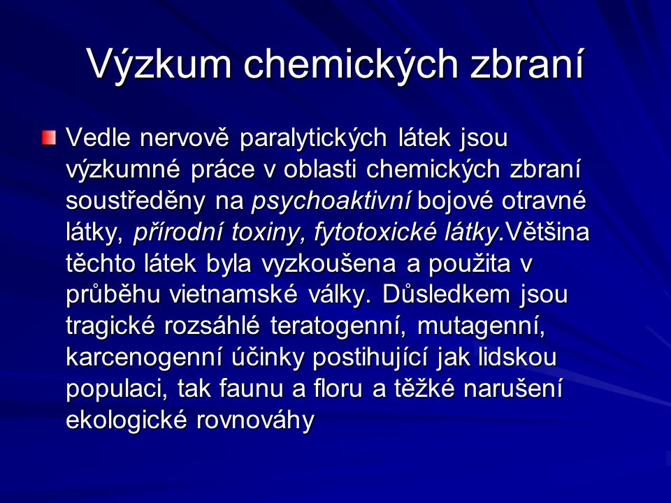 Výzkum chemických zbraní