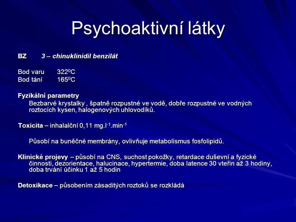 Psychoaktivní látky BZ 3 – chinuklinidil benzilát Bod varu 3220C
