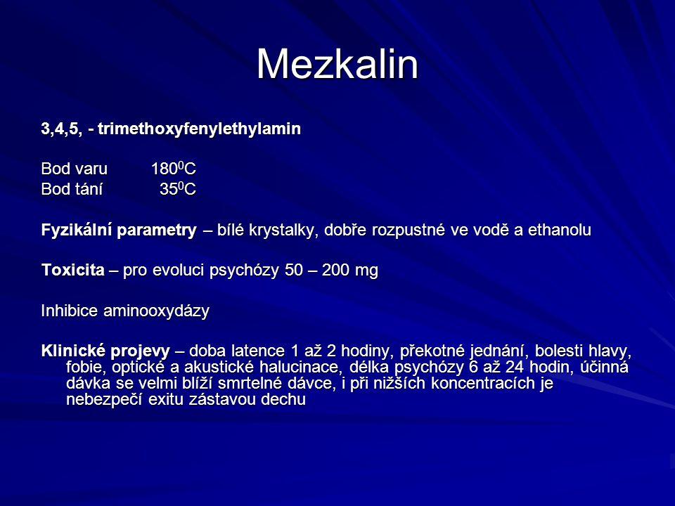 Mezkalin 3,4,5, - trimethoxyfenylethylamin Bod varu 1800C