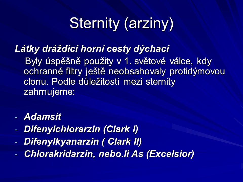 Sternity (arziny) Látky dráždicí horní cesty dýchací