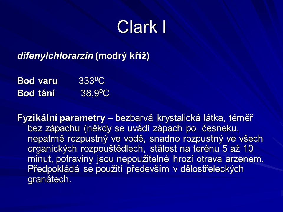 Clark I difenylchlorarzin (modrý kříž) Bod varu 3330C Bod tání 38,90C