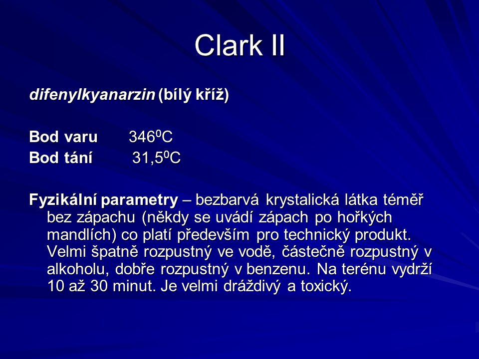 Clark II difenylkyanarzin (bílý kříž) Bod varu 3460C Bod tání 31,50C