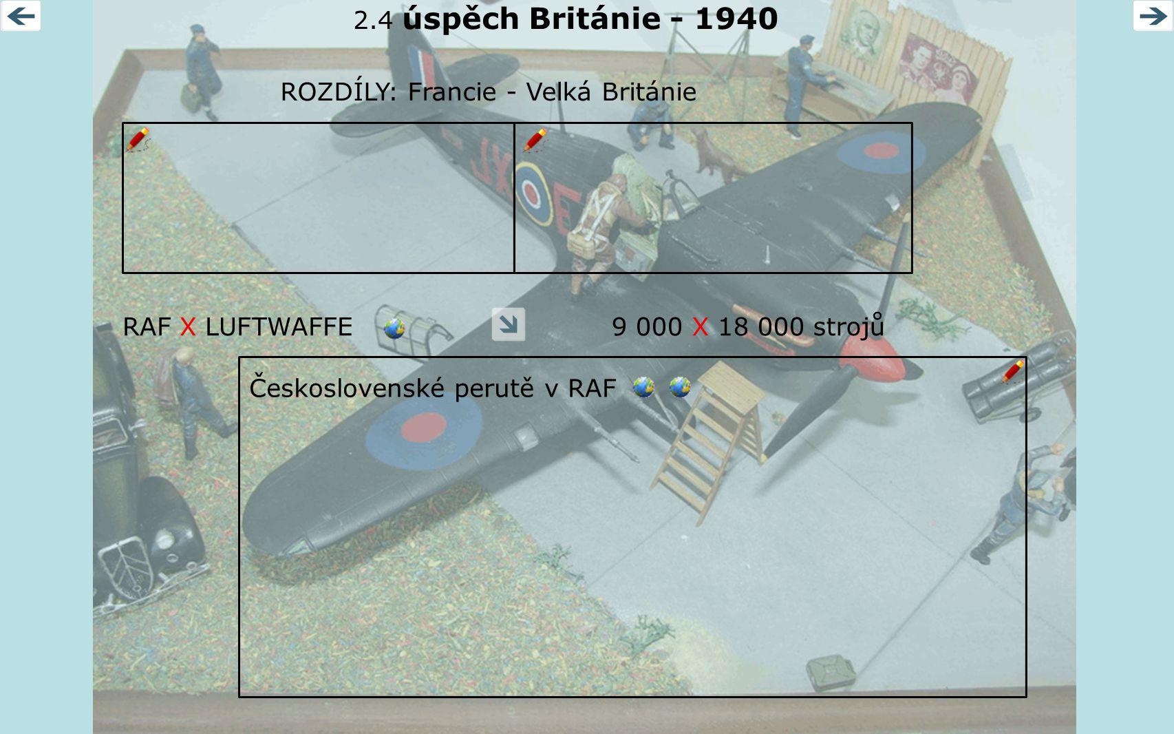 2.4 úspěch Británie - 1940 ROZDÍLY: Francie - Velká Británie. RAF X LUFTWAFFE. 9 000 X 18 000 strojů.