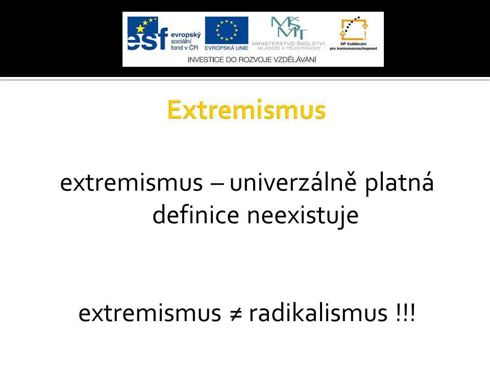 Extremismus extremismus – univerzálně platná definice neexistuje