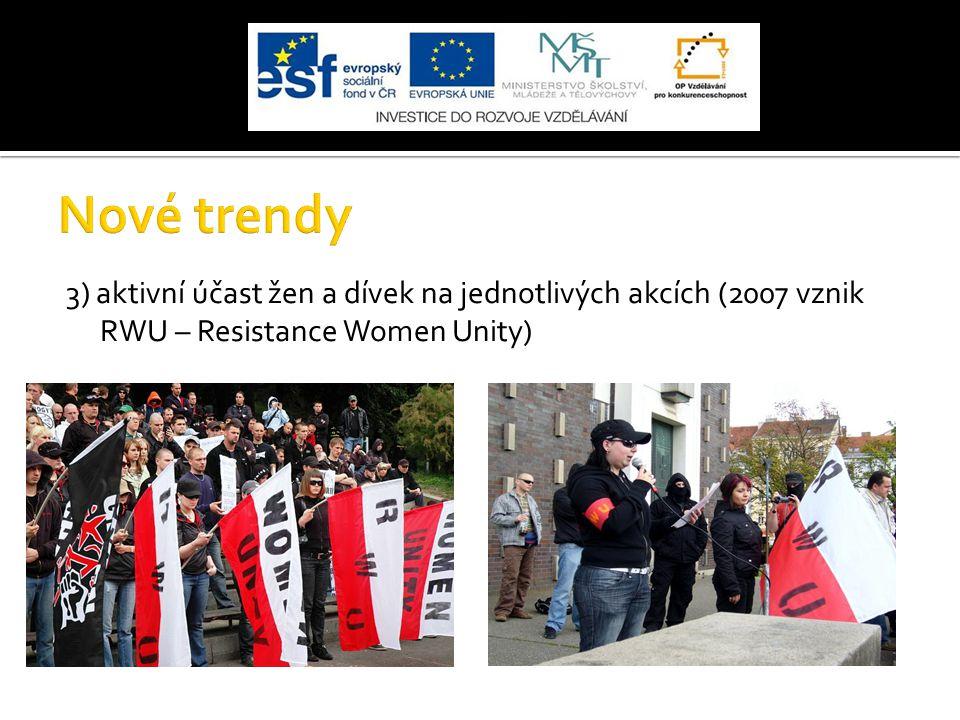 Nové trendy 3) aktivní účast žen a dívek na jednotlivých akcích (2007 vznik RWU – Resistance Women Unity)