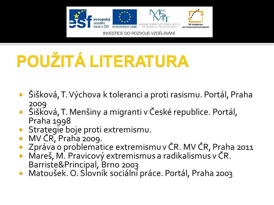 POUŽITÁ LITERATURA Šišková, T. Výchova k toleranci a proti rasismu. Portál, Praha 2009.