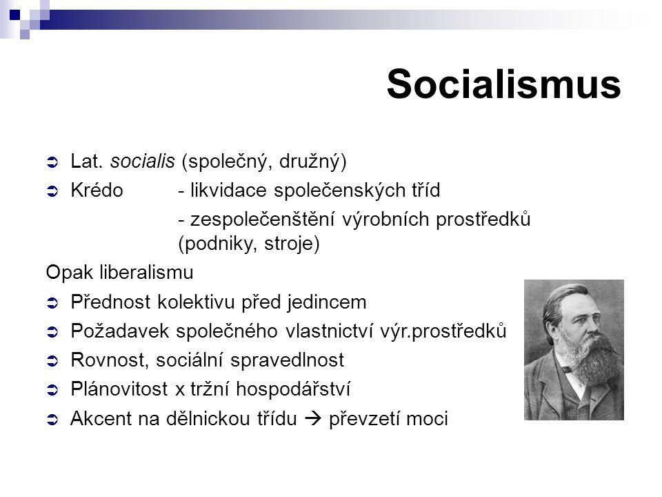 Socialismus Lat. socialis (společný, družný)
