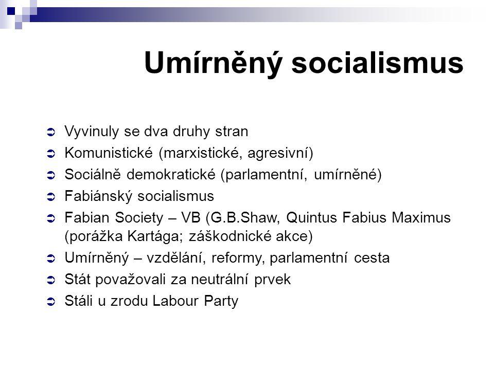 Umírněný socialismus Vyvinuly se dva druhy stran
