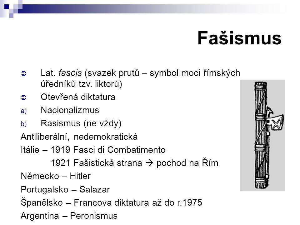 Fašismus Lat. fascis (svazek prutů – symbol moci římských úředníků tzv. liktorů) Otevřená diktatura.