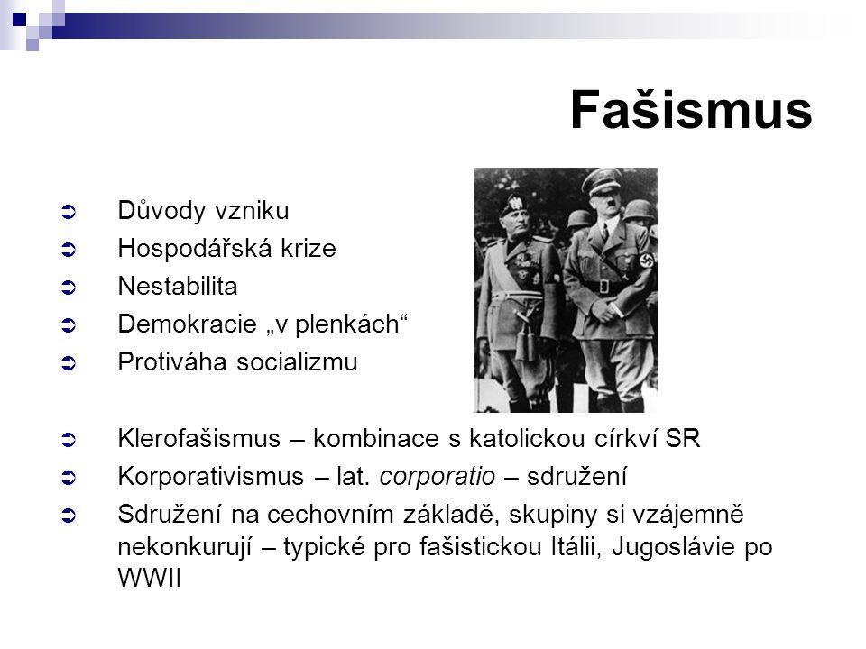 Fašismus Důvody vzniku Hospodářská krize Nestabilita