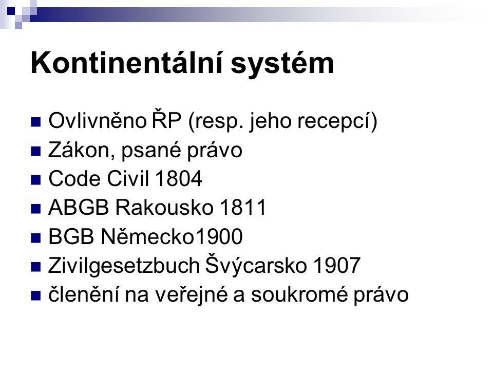 Kontinentální systém Ovlivněno ŘP (resp. jeho recepcí)