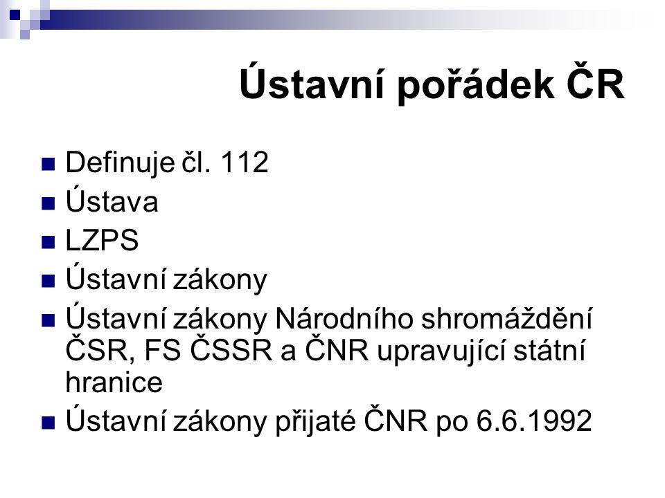 Ústavní pořádek ČR Definuje čl. 112 Ústava LZPS Ústavní zákony