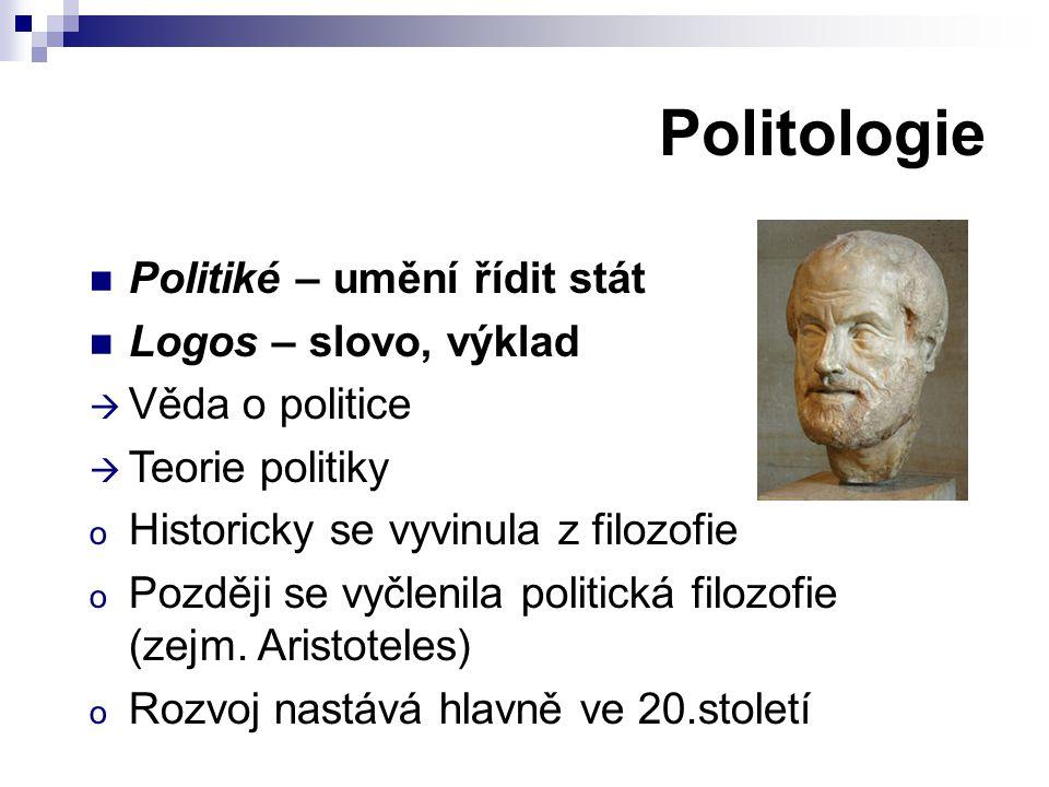 Politologie Politiké – umění řídit stát Logos – slovo, výklad