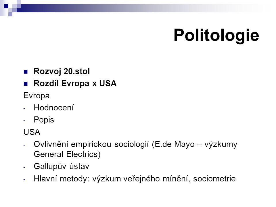 Politologie Rozvoj 20.stol Rozdíl Evropa x USA Evropa Hodnocení Popis