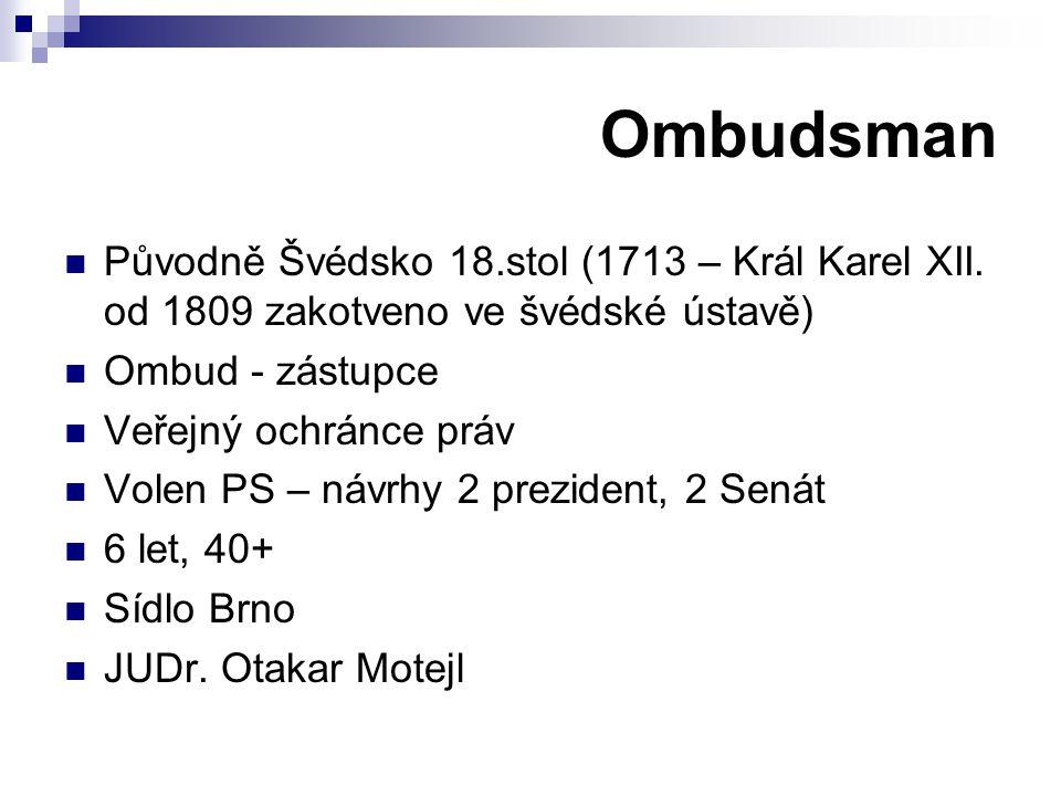 Ombudsman Původně Švédsko 18.stol (1713 – Král Karel XII. od 1809 zakotveno ve švédské ústavě) Ombud - zástupce.