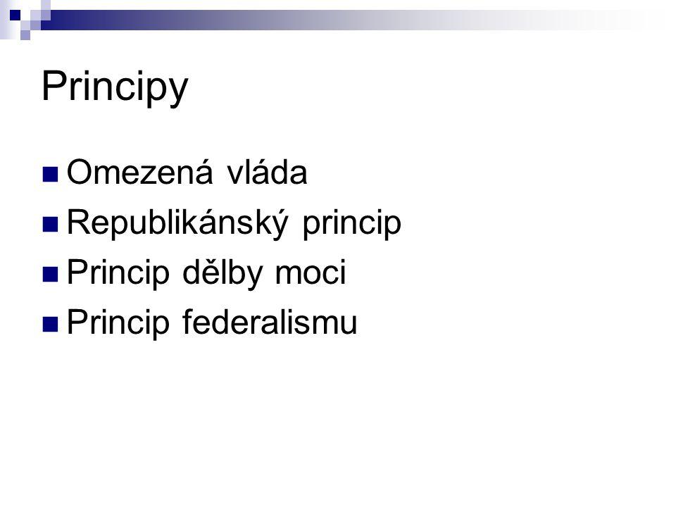 Principy Omezená vláda Republikánský princip Princip dělby moci