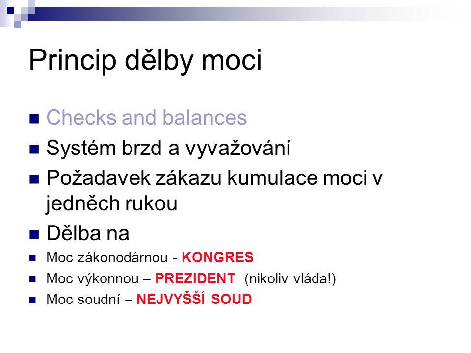 Princip dělby moci Checks and balances Systém brzd a vyvažování