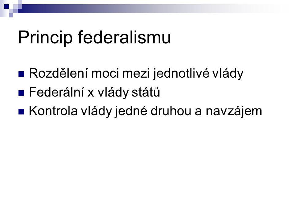 Princip federalismu Rozdělení moci mezi jednotlivé vlády