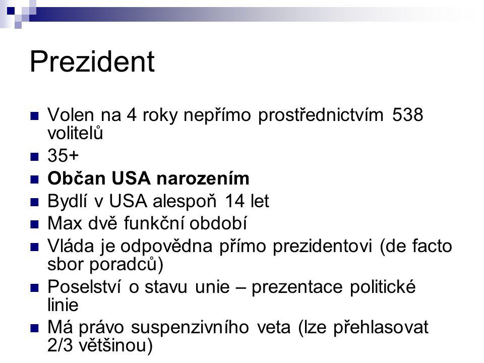 Prezident Volen na 4 roky nepřímo prostřednictvím 538 volitelů 35+
