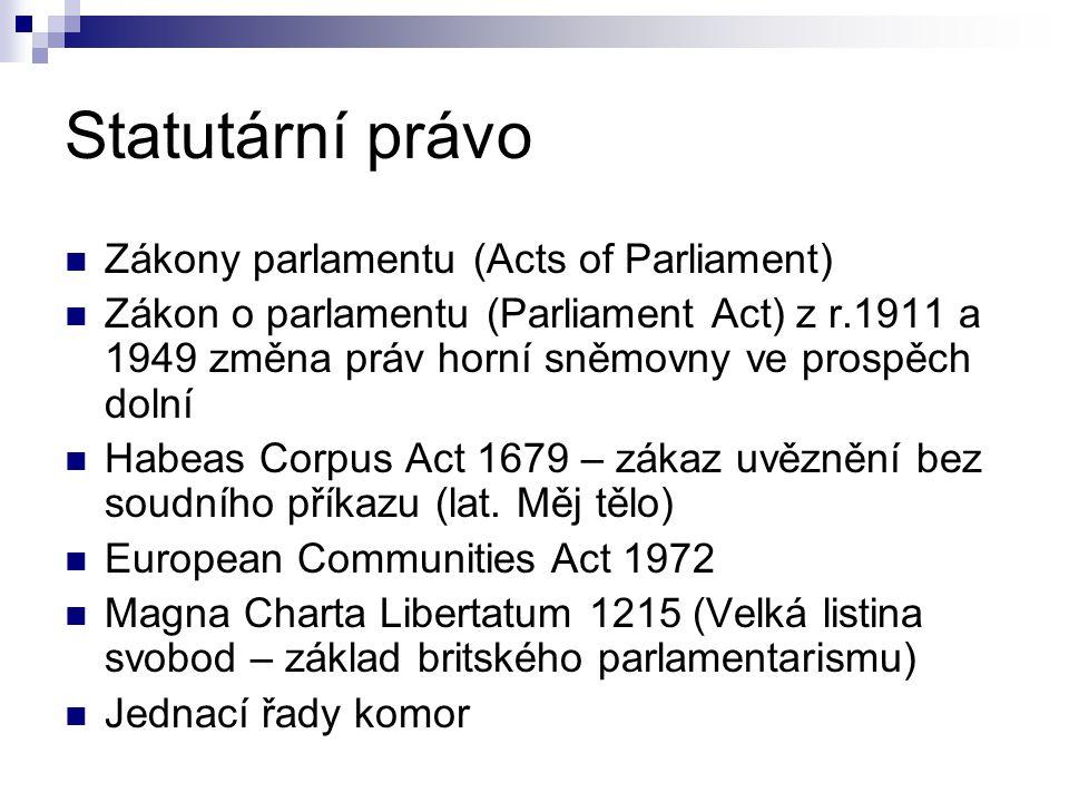Statutární právo Zákony parlamentu (Acts of Parliament)