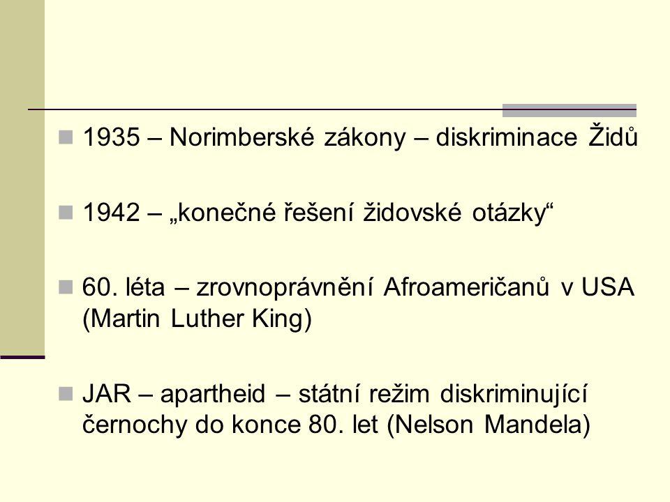 1935 – Norimberské zákony – diskriminace Židů