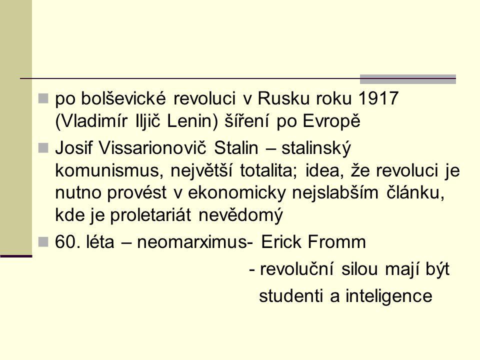 po bolševické revoluci v Rusku roku 1917 (Vladimír Iljič Lenin) šíření po Evropě