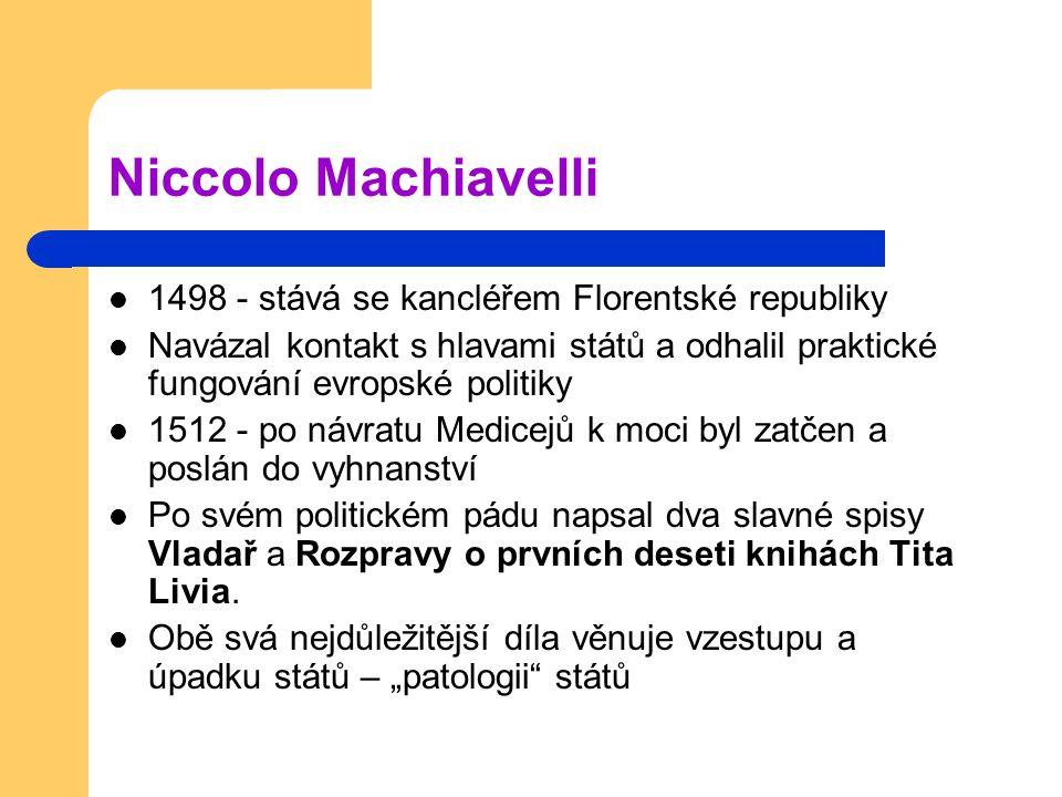 Niccolo Machiavelli 1498 - stává se kancléřem Florentské republiky