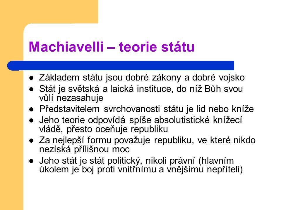 Machiavelli – teorie státu
