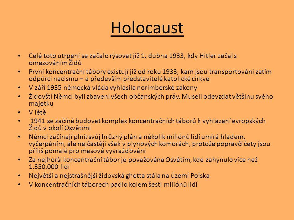Holocaust Celé toto utrpení se začalo rýsovat již 1. dubna 1933, kdy Hitler začal s omezováním Židů.