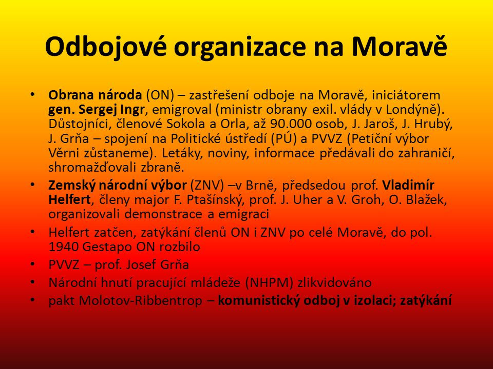 Odbojové organizace na Moravě