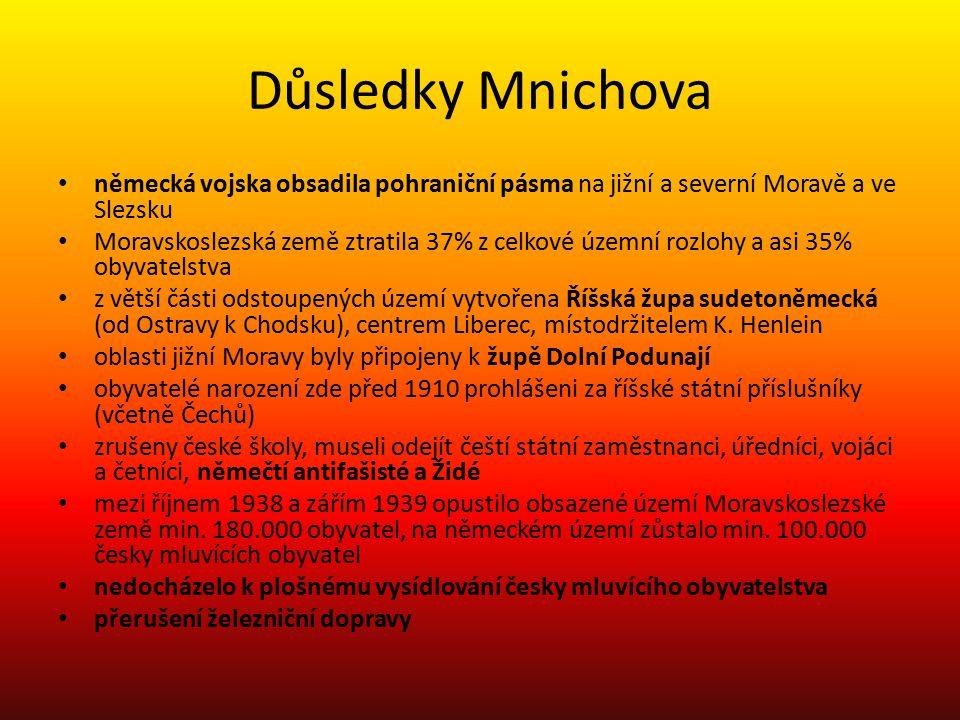 Důsledky Mnichova německá vojska obsadila pohraniční pásma na jižní a severní Moravě a ve Slezsku.
