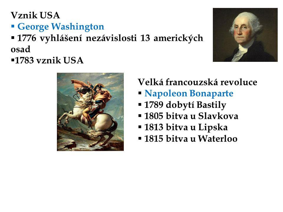 Vznik USA George Washington. 1776 vyhlášení nezávislosti 13 amerických osad. 1783 vznik USA. Velká francouzská revoluce.