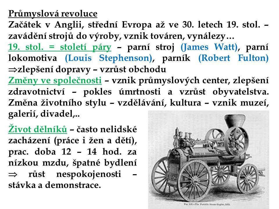 Průmyslová revoluce Začátek v Anglii, střední Evropa až ve 30. letech 19. stol. – zavádění strojů do výroby, vznik továren, vynálezy…