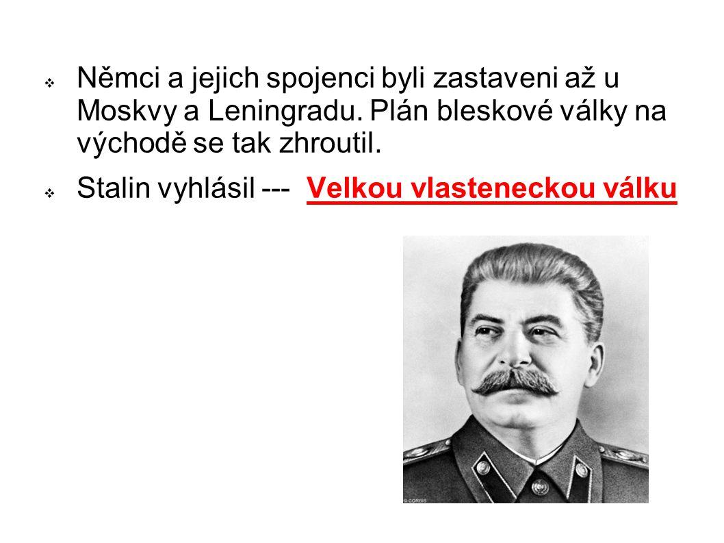Němci a jejich spojenci byli zastaveni až u Moskvy a Leningradu