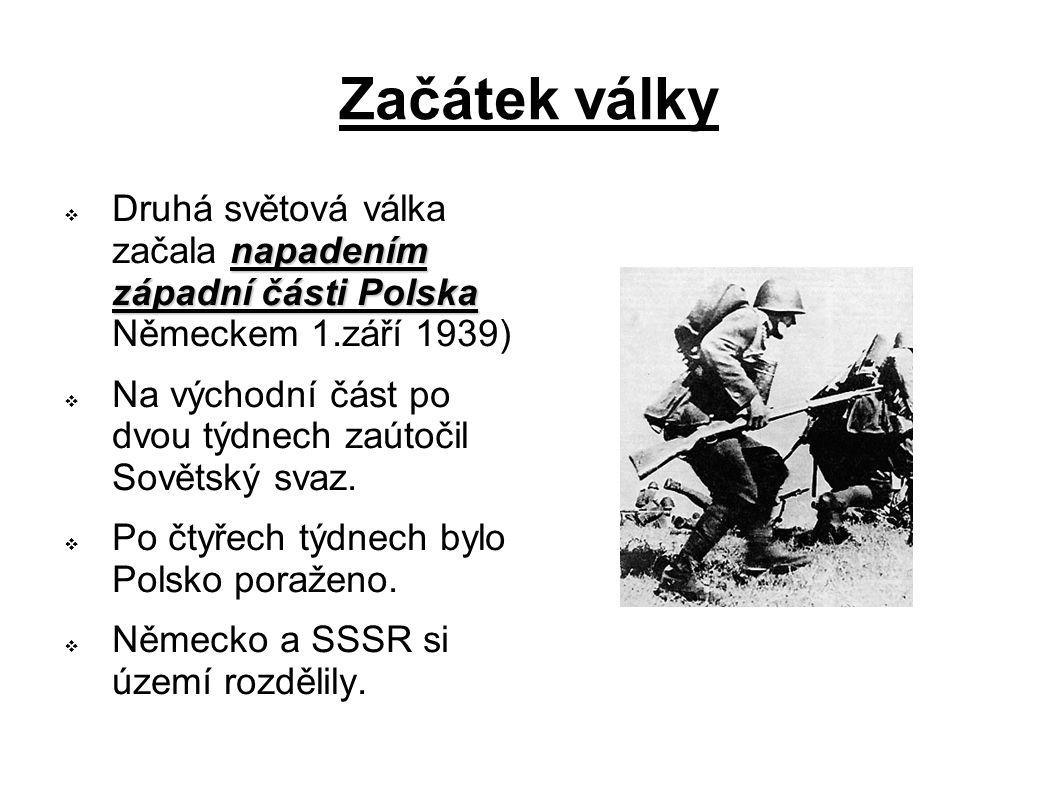 Začátek války Druhá světová válka začala napadením západní části Polska Německem 1.září 1939)