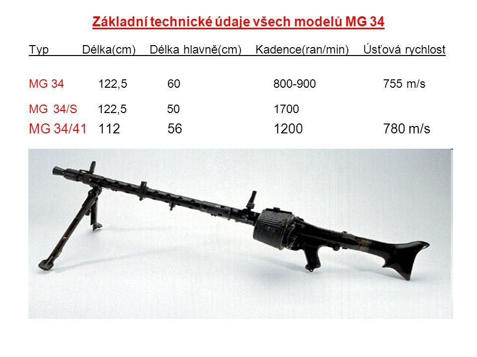 Základní technické údaje všech modelů MG 34