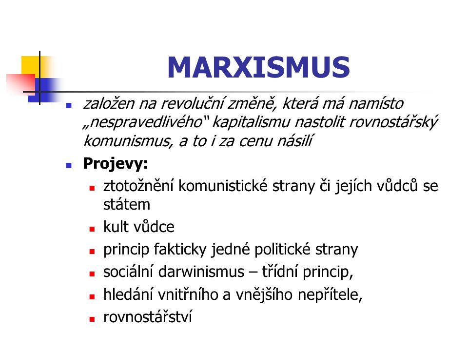 """MARXISMUS založen na revoluční změně, která má namísto """"nespravedlivého kapitalismu nastolit rovnostářský komunismus, a to i za cenu násilí."""