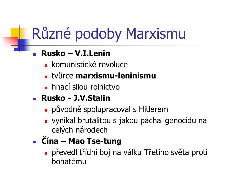 Různé podoby Marxismu Rusko – V.I.Lenin komunistické revoluce