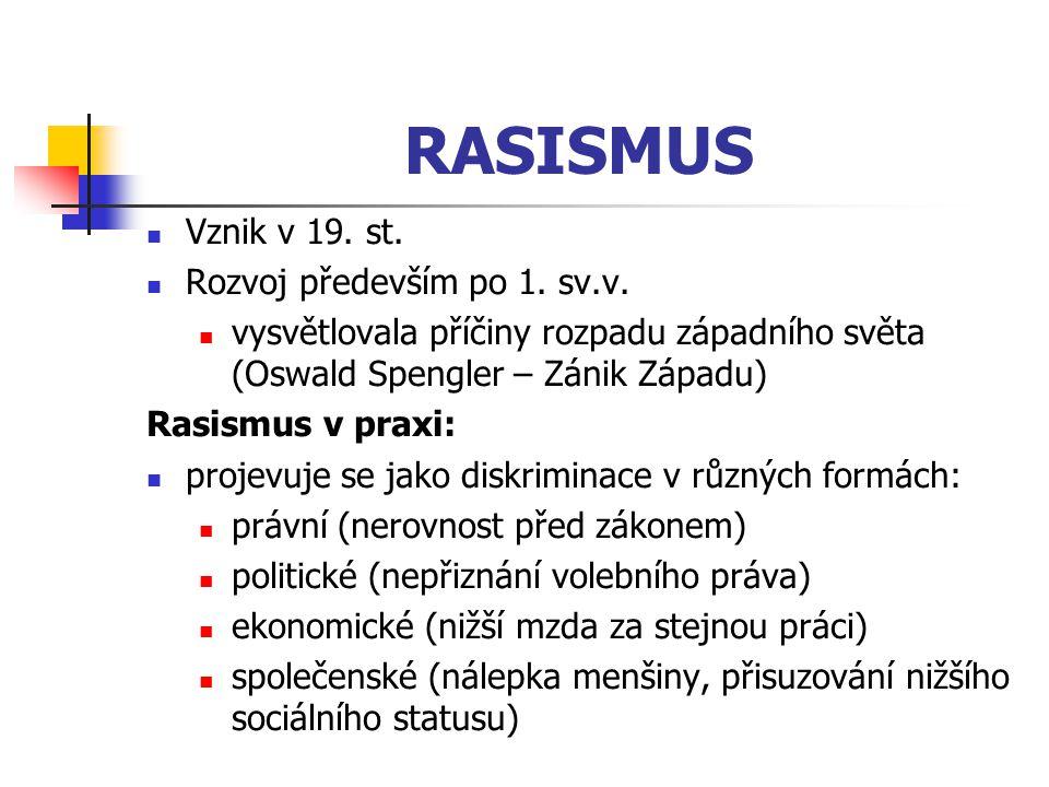 RASISMUS Vznik v 19. st. Rozvoj především po 1. sv.v.