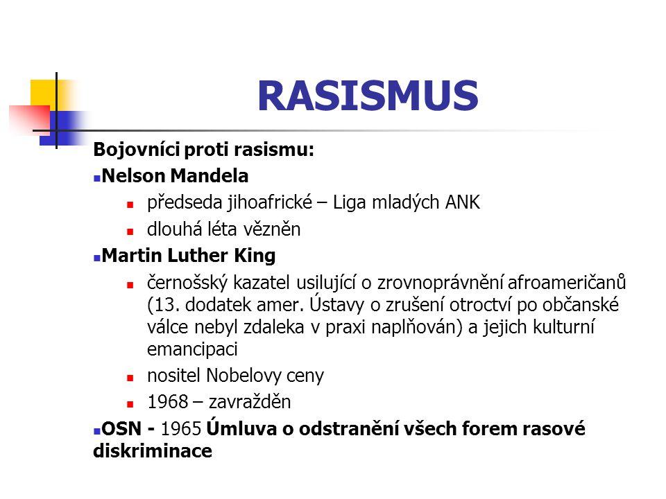 RASISMUS Bojovníci proti rasismu: Nelson Mandela