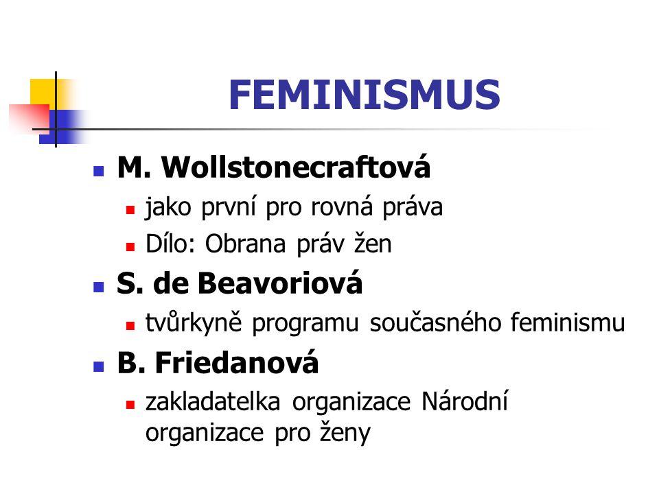 FEMINISMUS M. Wollstonecraftová S. de Beavoriová B. Friedanová